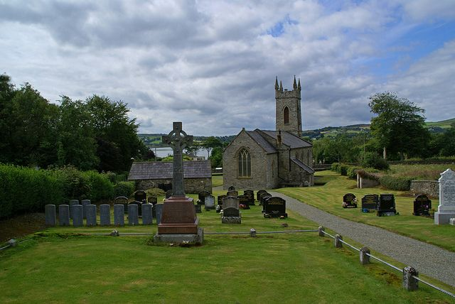 St Mura's Church, Upper Fahan Parish, County Donegal, Ireland (1820). Change of angle from the usual frontal shot. Very well maintained church and graveyard. Quite a lot of WW1 and WW2 graves in this graveyard.