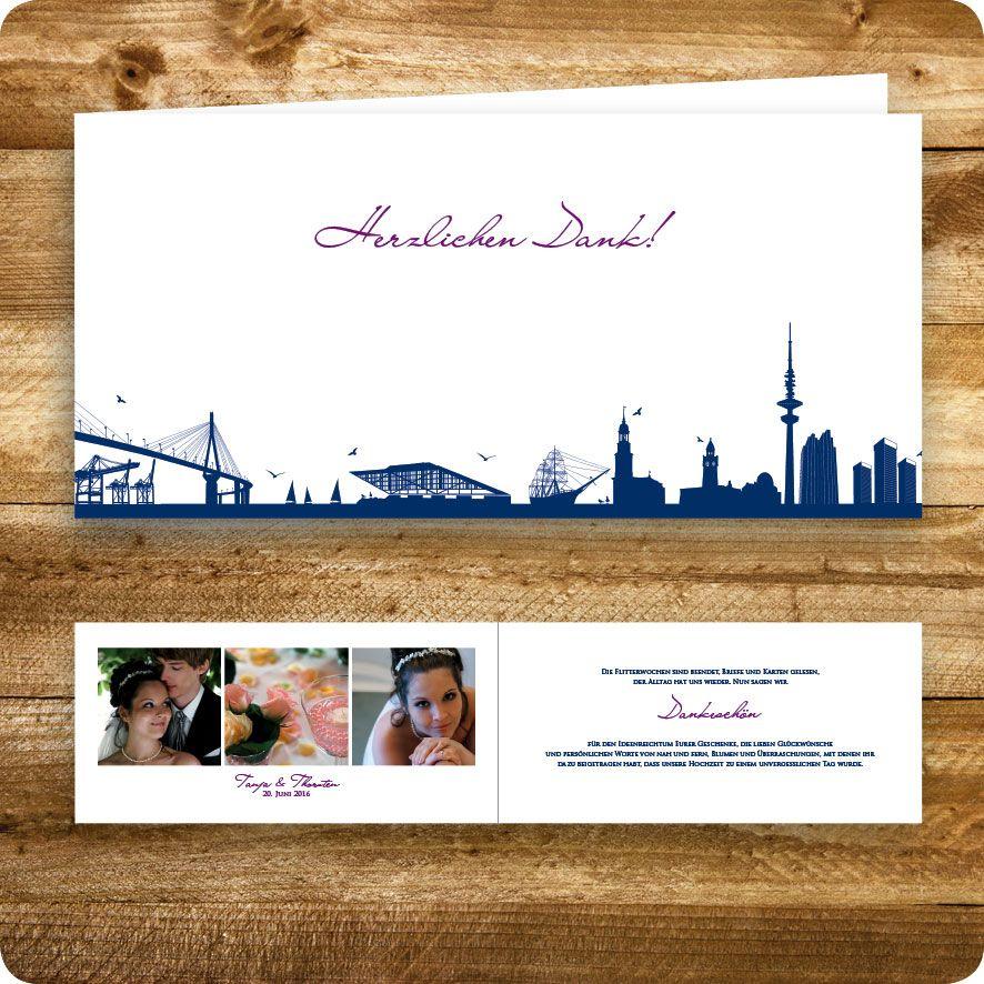Dankeskarte Maritim, Hamburg, Hochzeit, Individuell Designed By Die  Kartenfrau. Maritim HamburgEinladungskarten Hochzeit