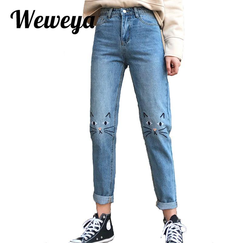b775e2f28 Cheap Weweya Nuevas Mujeres Pantalones Vaqueros de Cintura Alta Bordado  Gato Pantalones American Apparel Jeans Boyfriend