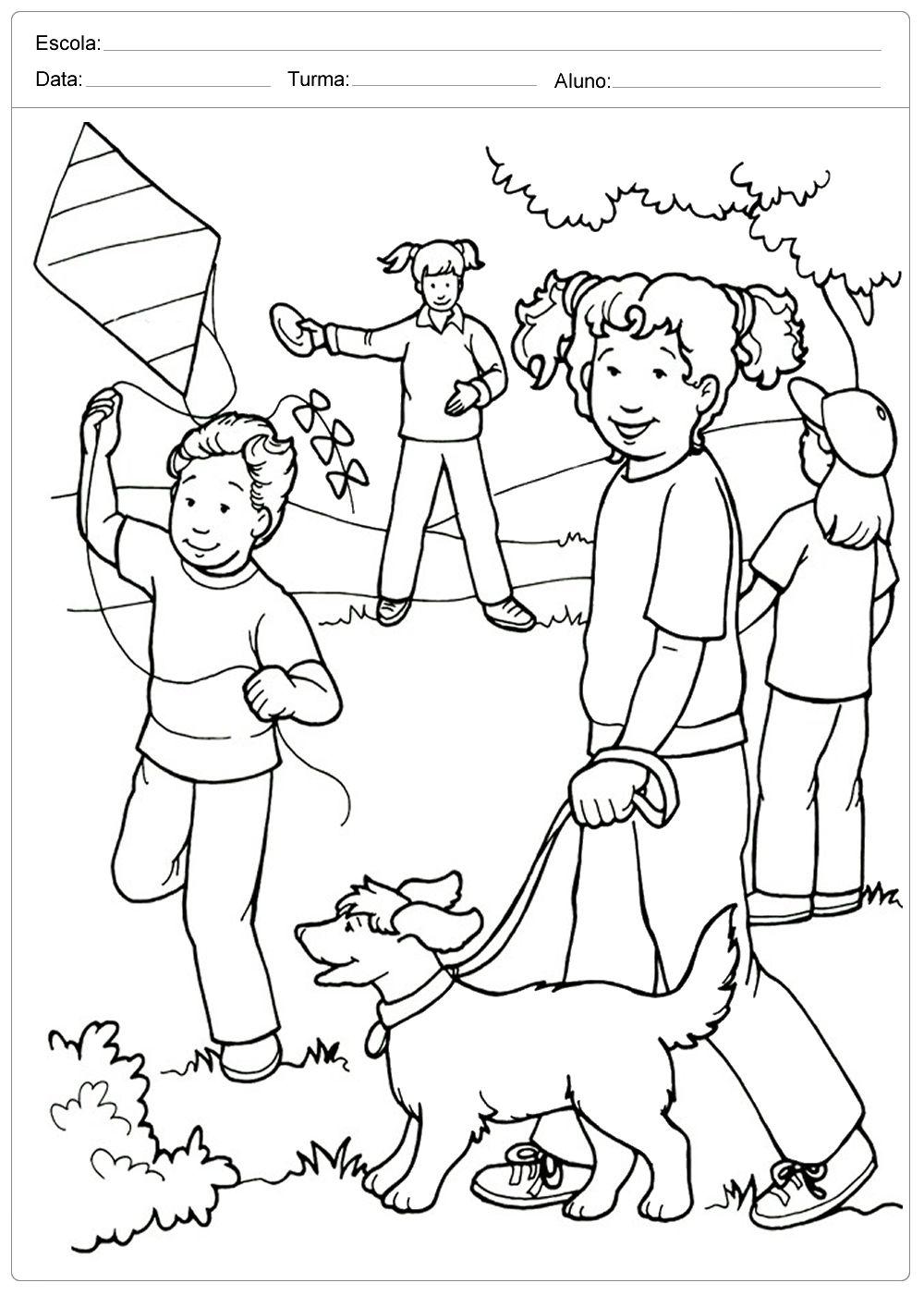 Criancas Brincando Colorir Dia Das Criancas Em 2020 Desenhos