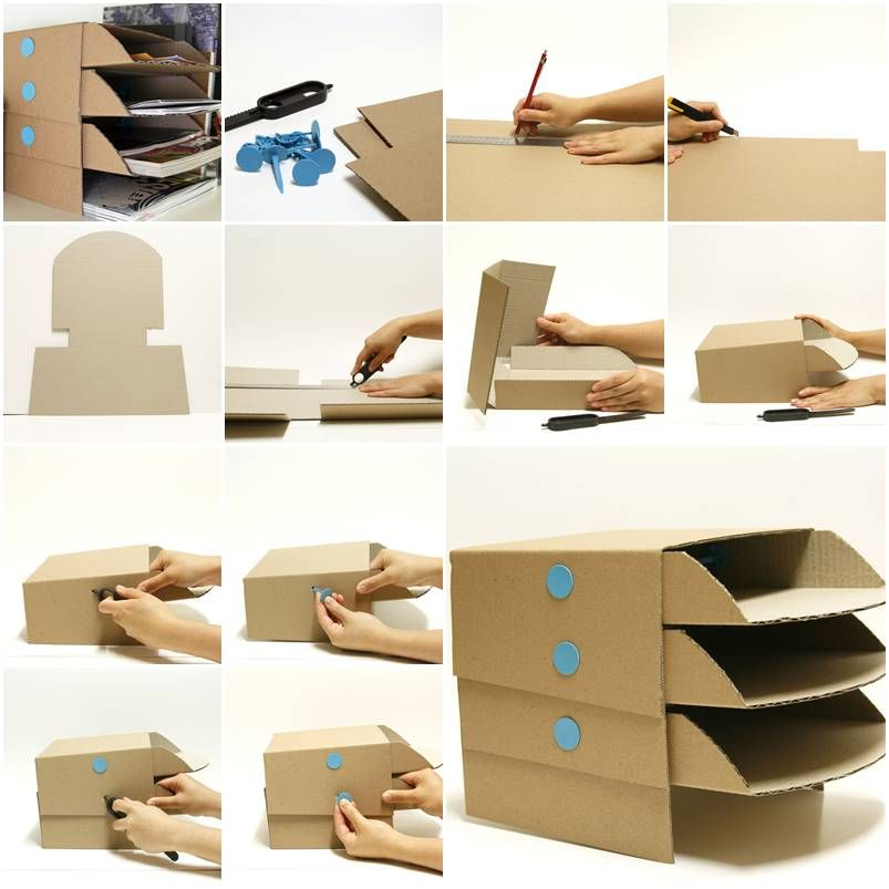 How to make cardboard office desktop storage trays step by Homemade craft storage ideas