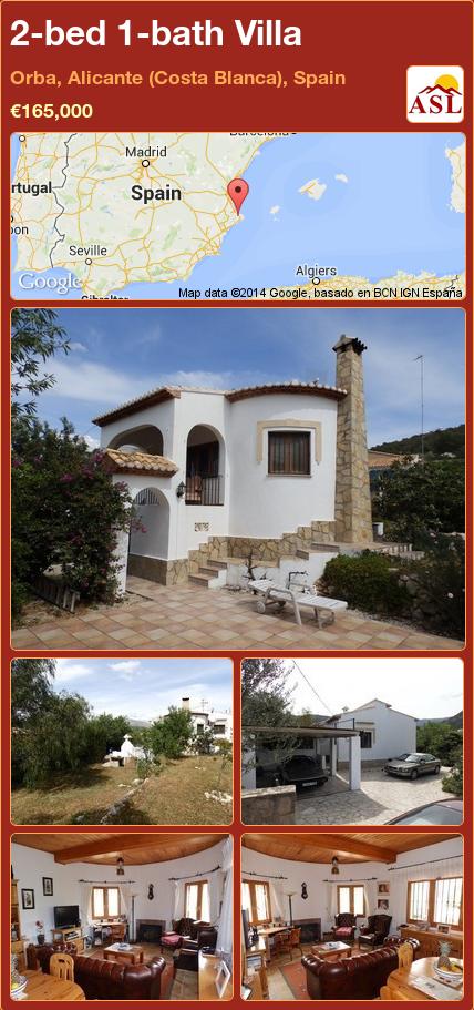 2-bed 1-bath Villa in Orba, Alicante (Costa Blanca), Spain ►€165,000 #PropertyForSaleInSpain
