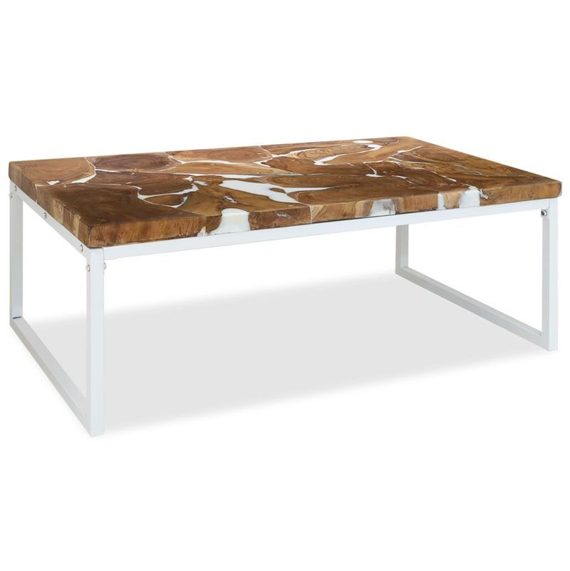 Table Basse Teck Resine 110 X 60 X 40 Cm 244553 Table Basse