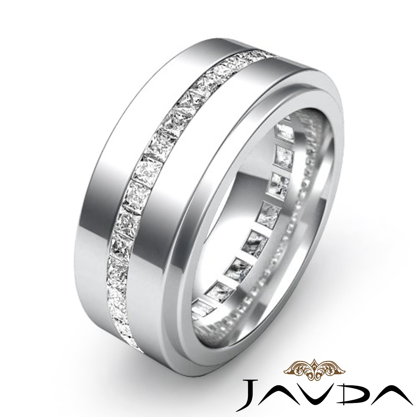 An Elegant And Stylish Princess Diamond Eternity Men S Wedding Band Is Made From 14k White Gold Fe Mens Diamond Wedding Bands Mens Wedding Rings Rings For Men
