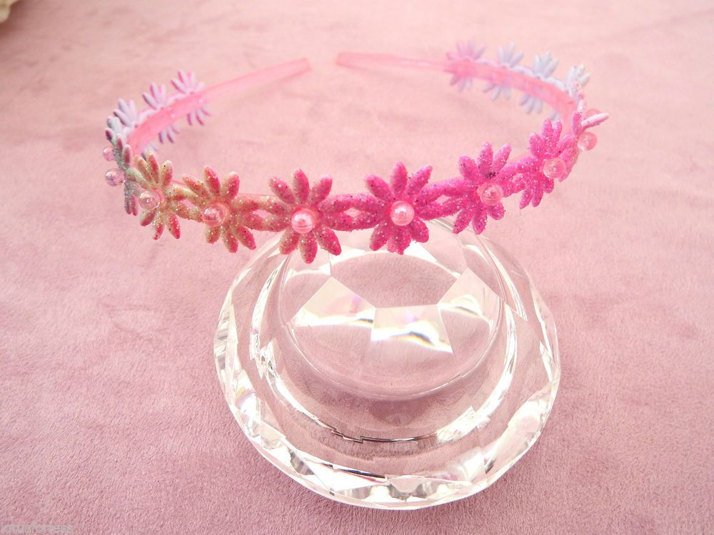 Glittery Pink Flower Plastic Headband Hair band Alice Band with pink Beads