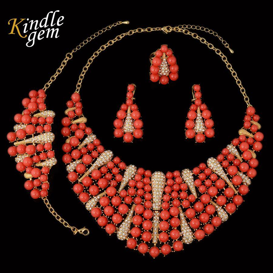 Big nigerian wedding african beads jewelry set dubai gold color
