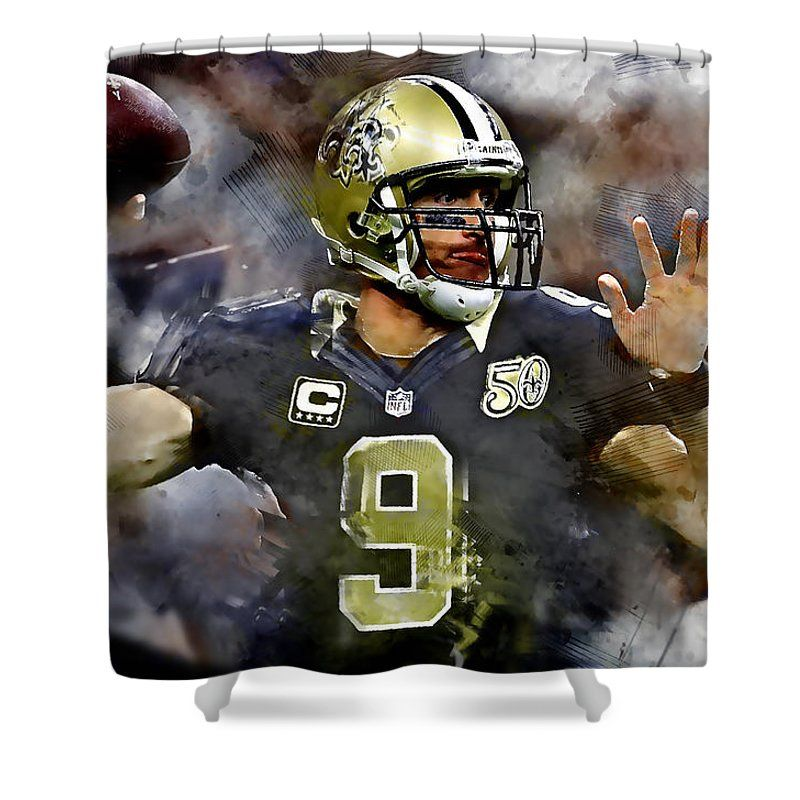 Drew Brees Shower Curtain Featuring The Mixed Media Drew Brees By