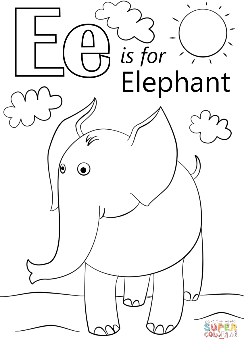 letter e is for elephant coloring page free printable coloring pages preschool abc countdown. Black Bedroom Furniture Sets. Home Design Ideas