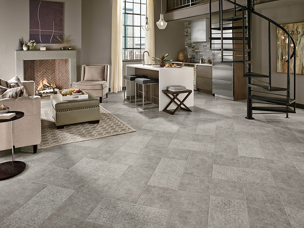 Armstrong Luxury Vinyl Tile Flooring  LVT Gray 12x24 Patterned tile Herringbone Installation
