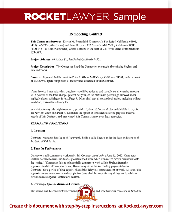 Home Remodeling Contract Form With Sample  House Remodel