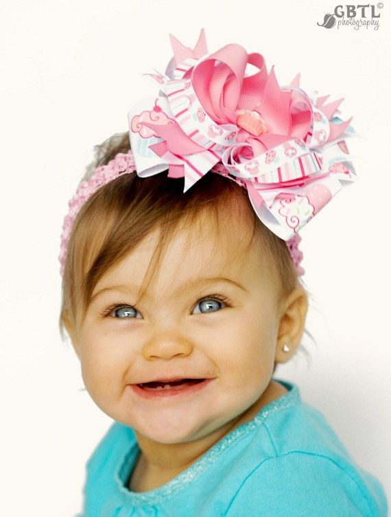 Pink Cupcake Hair Bow Infant Headband Baby от PheePheeBowtique