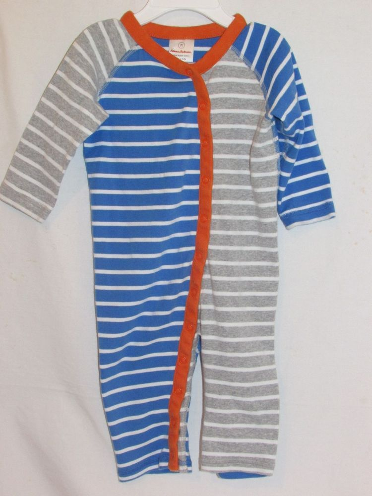 HANNA ANDERSSON Sz 70 6-12M Boys Sleeper Long Sleeves Blue Striped Snap Front #HannaAndersson #Everyday