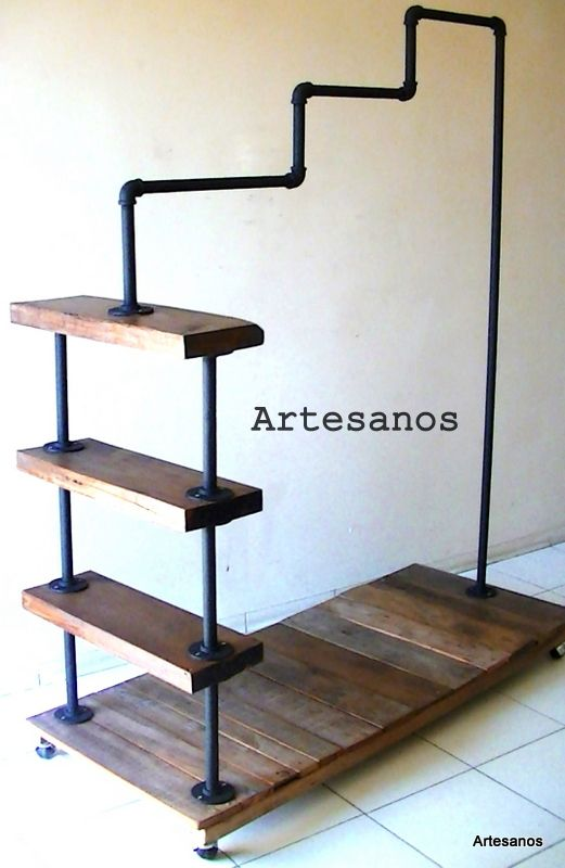 Perchero ca os galvanizados y madera closet armario for Perchas cano