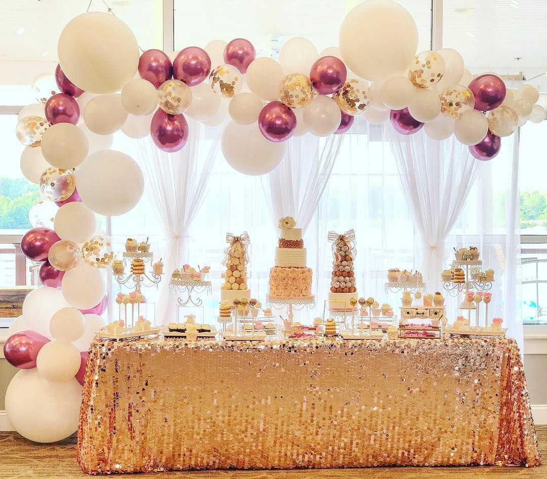 A White And Rose Gold Sweet 16 Designsbyalexandra Balloon Garland Backdrop And Decor Prettyswe Sweet 16 Centerpieces Rose Gold Party Rose Gold Party Decor