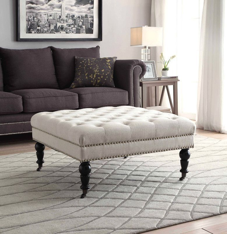 buy Linon Isabelle Natural Square Tufted Ottoman at Harvey & Haley ...