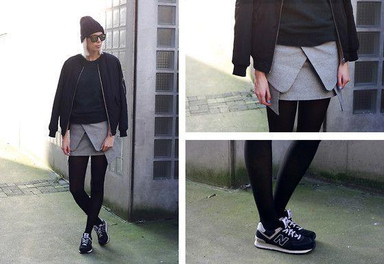 Front Row Shop Bomber Jacket, Romwe Fluffy Dark Green Sweater, Choies Folded Skirt, New Balance Sneakers
