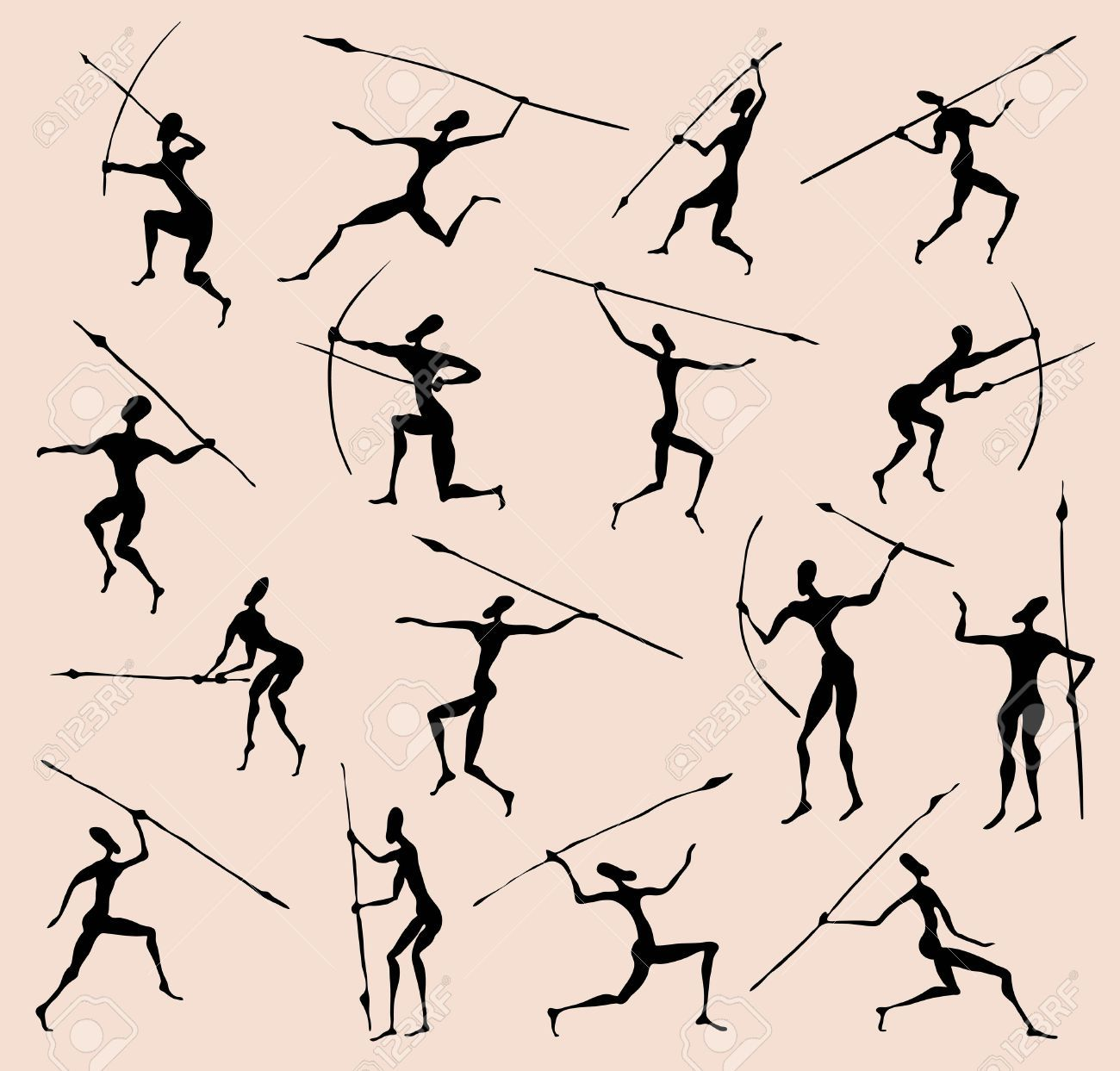 Cave Rock Painting Tribal People Silhouettes Set Cave Paintings