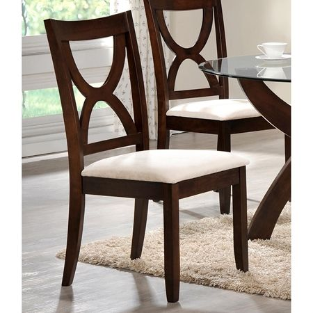 Flores Dining Chair White Fabric Seat Espresso Frame In 2020