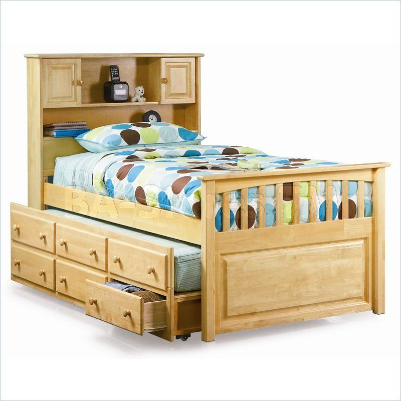 Natural Twin Trundle Bed With Storage Captain S Bookcase Bed