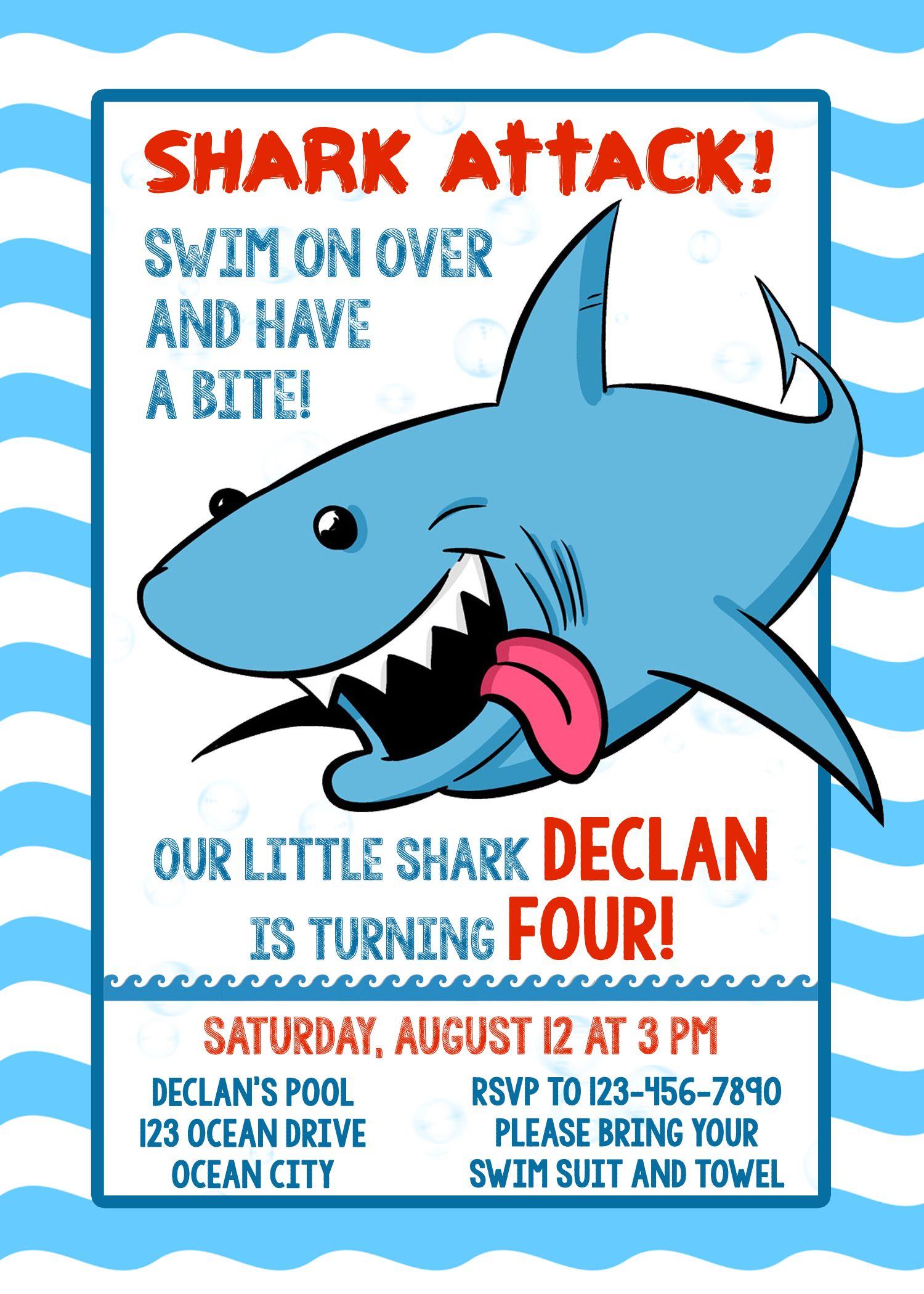shark invitation shark party shark birthday invitation shark