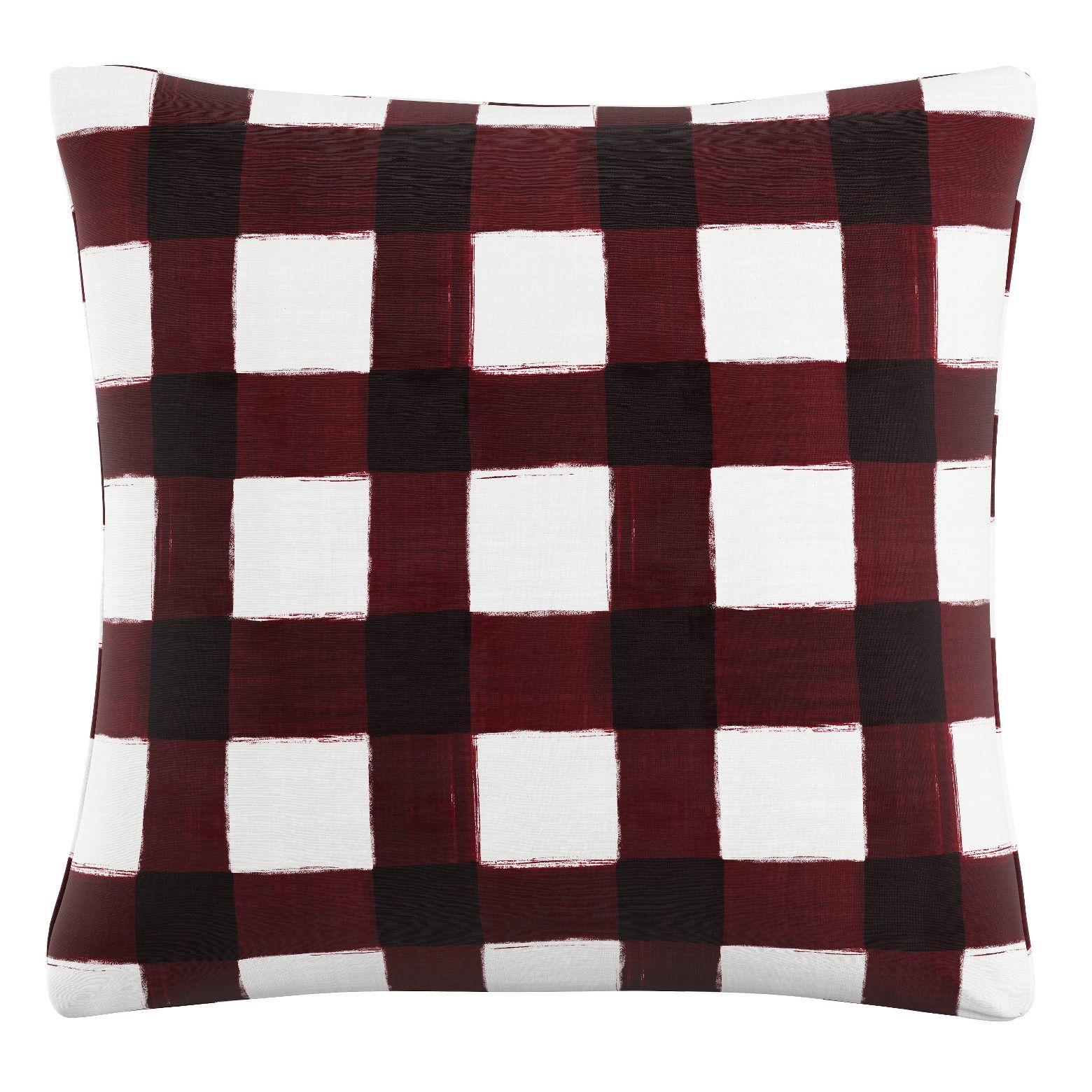 Maroon Plaid Throw Pillow Skyline Furniture Plaid