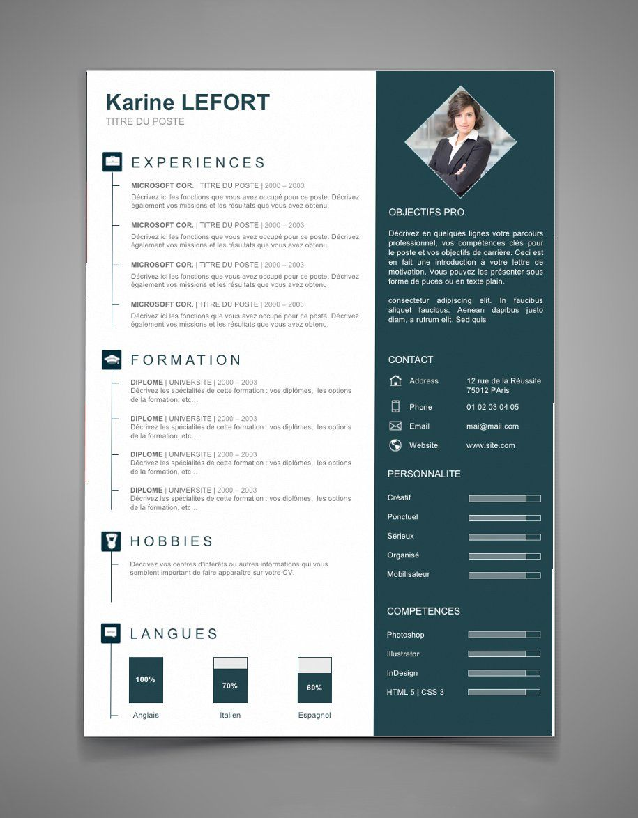 modele de cv indesign informatique
