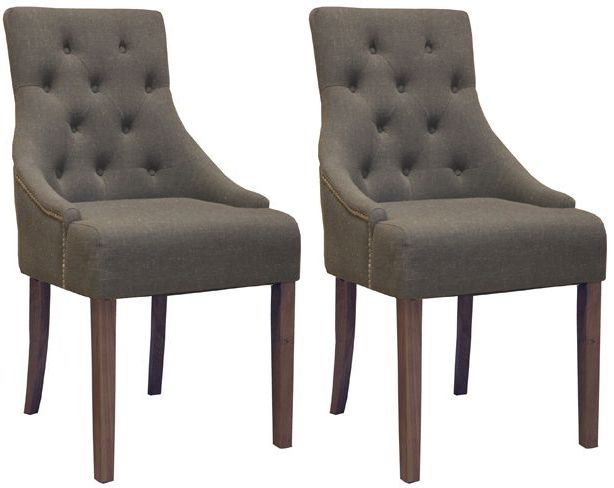 Baumhaus Shiro Walnut Accent Slate Upholstered Dining Chair Pair Online By Furniture From Cfs Uk At Unbeatable Price