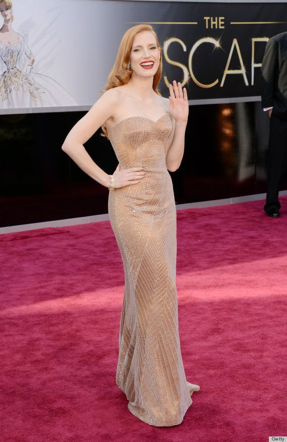 Jessica Chastain In Giorgio Armani At The 2017academyawards 2017oscars Flawless