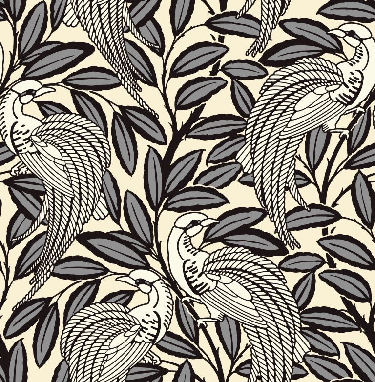 Tailfeather Wallpaper In Humbug From The Shade Wilder Collection By Arthouse Available Exclusivel Flock Wallpaper Wallpaper Design Pattern Black Wallpaper