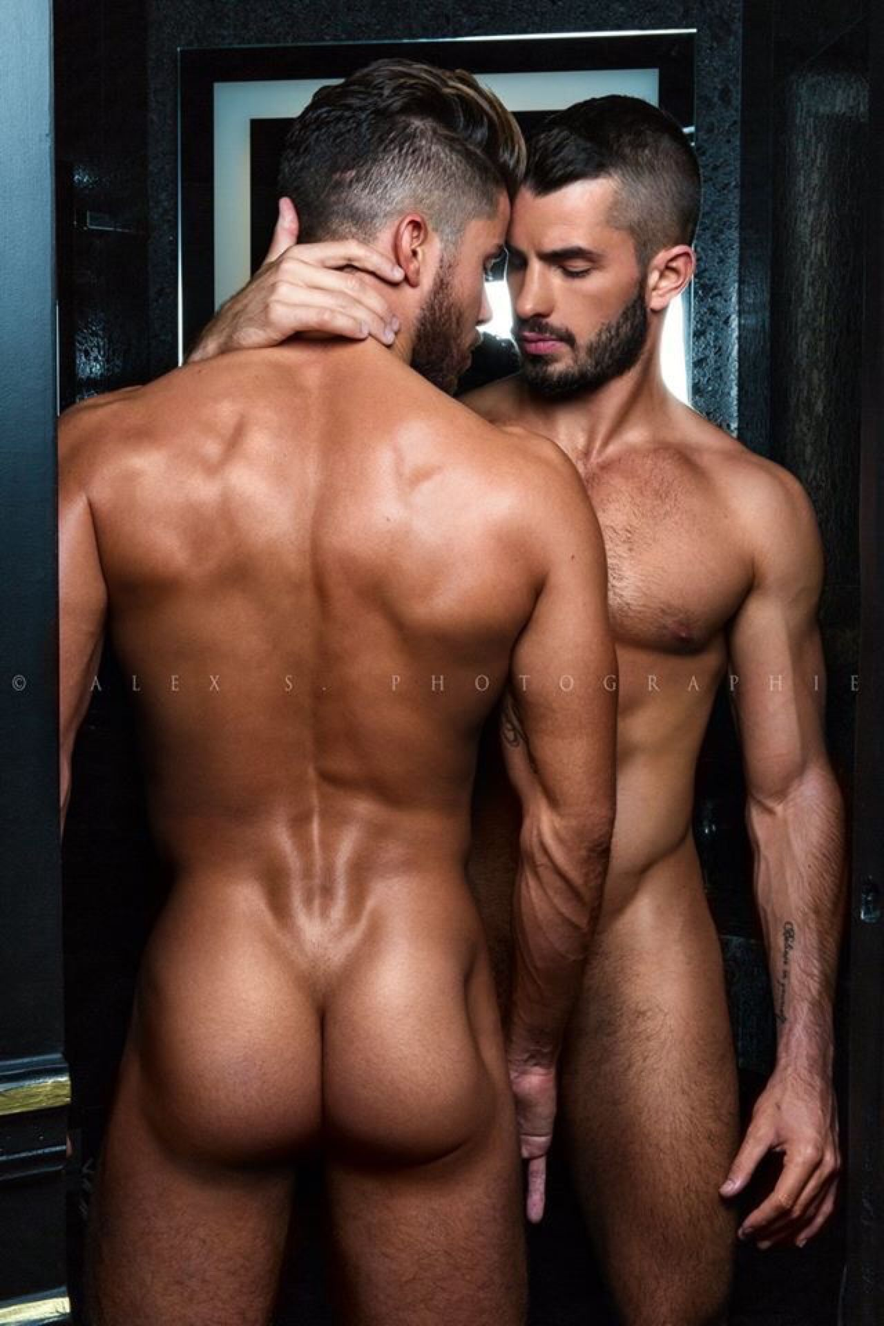 Black hunks kissing