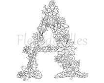 Popular Items For Zen Coloring Page On Etsy Coloring Pages Floral Letters Hand Lettering
