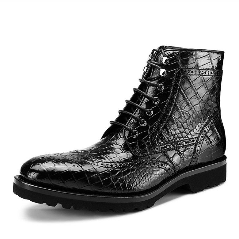 ae4b02b067c Casual Alligator Leather Wingtip Lace Up Boots in 2019 | Men's ...