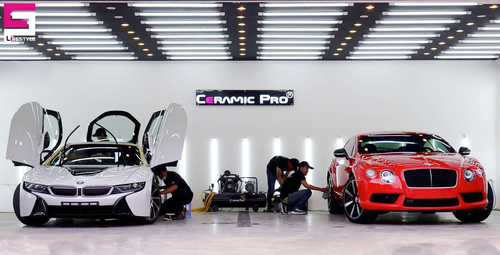 Ceramic Pro Cambodia Team In Da Progress Car Showroom Design Showroom Design Luxury Garage