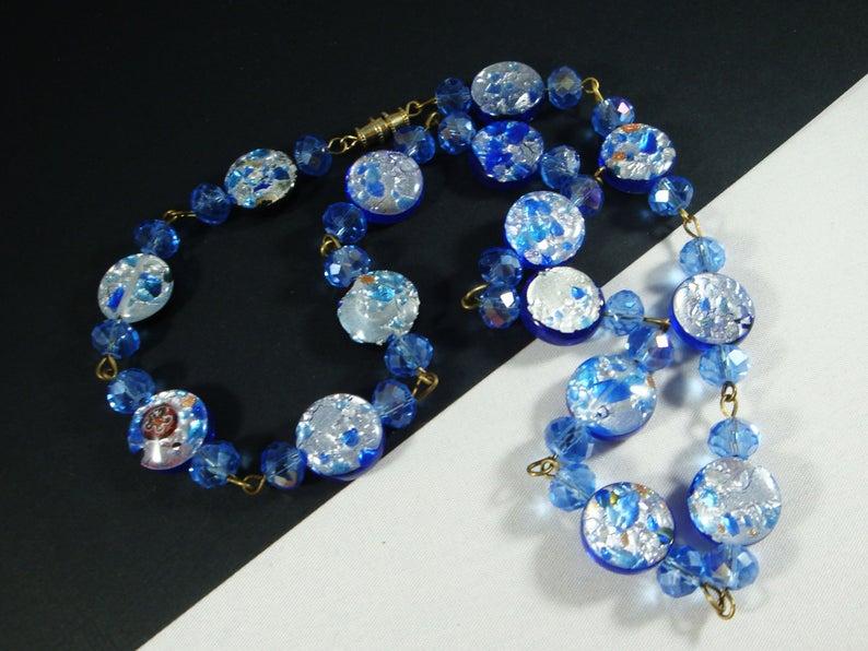 Vintage blue Gold glass Beaded choker