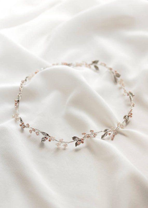 FAYETTE zarte Hochzeit Halo in Silber Silber und rose gold | Etsy