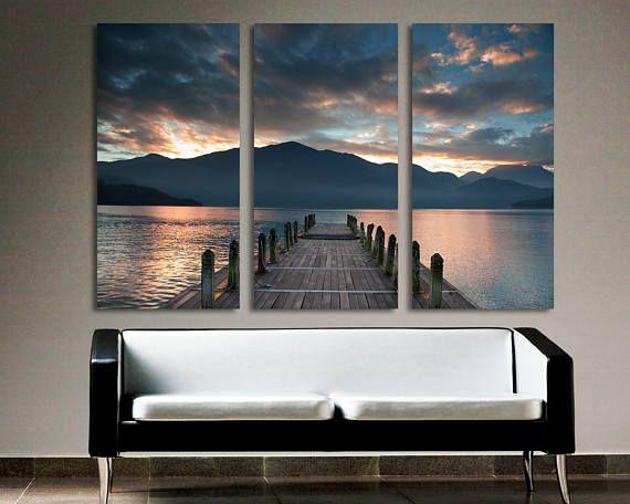 Cloudy Lake Docks Sunset 3 Panel Split Triptych Canvas Etsy Sunset Canvas Big Wall Art 3 Panel Wall Art