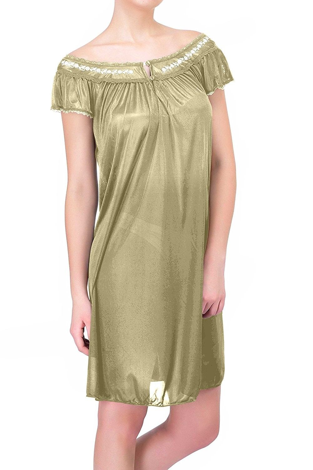 90c66b573bee Womens Satin Silk Short Sleeve Lingerie Nightgown - Greenyellow -  CL11OREDE7X