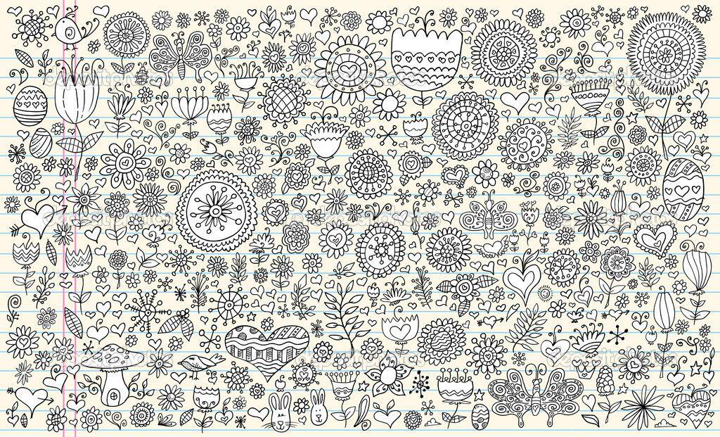 Набор векторных каракули эскиз цветы весны — стоковая ...