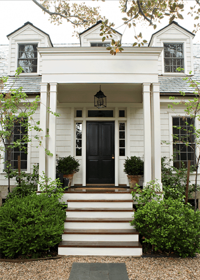 Tim Barber exterior black door -siding Benjamin Moore Swiss Coffee #swisscoffeebenjaminmoore