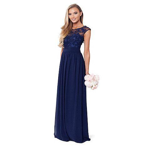 Sistaglam Navy \'Loriana\' navy embroided lace maxi dress | Debenhams ...