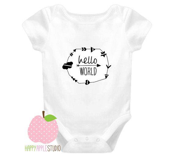 Hello World Baby Onesie hello world baby by TheHappyAppleStudio