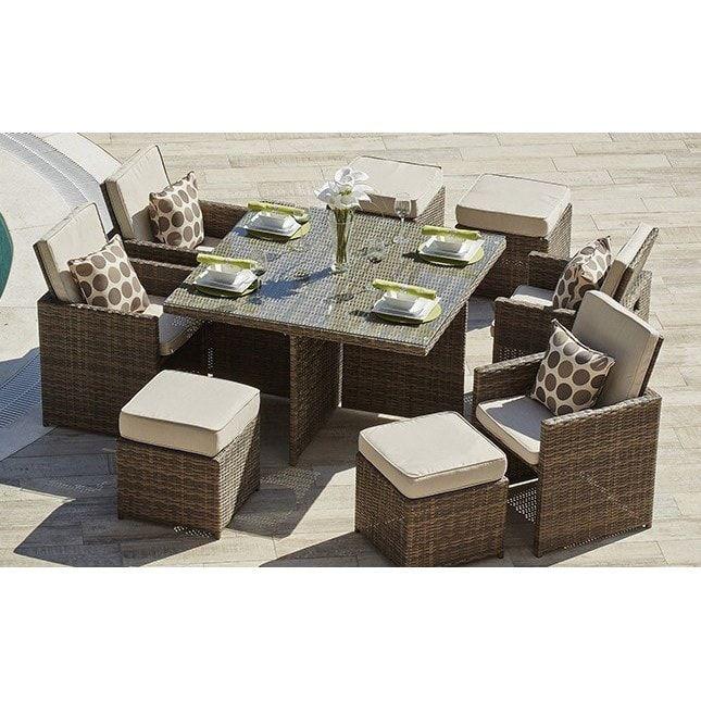 Cubo Outdoor Garden Wicker 9 Piece Patio Dining Table Set Brown Furniture