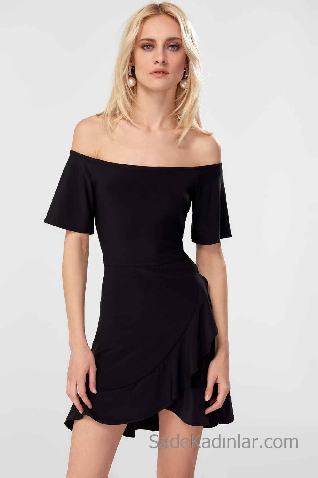 166724db075a4 2020 Siyah Kısa Abiye Elbise Modelleri Omzu Açık Düşük Kol Katlamalı ...