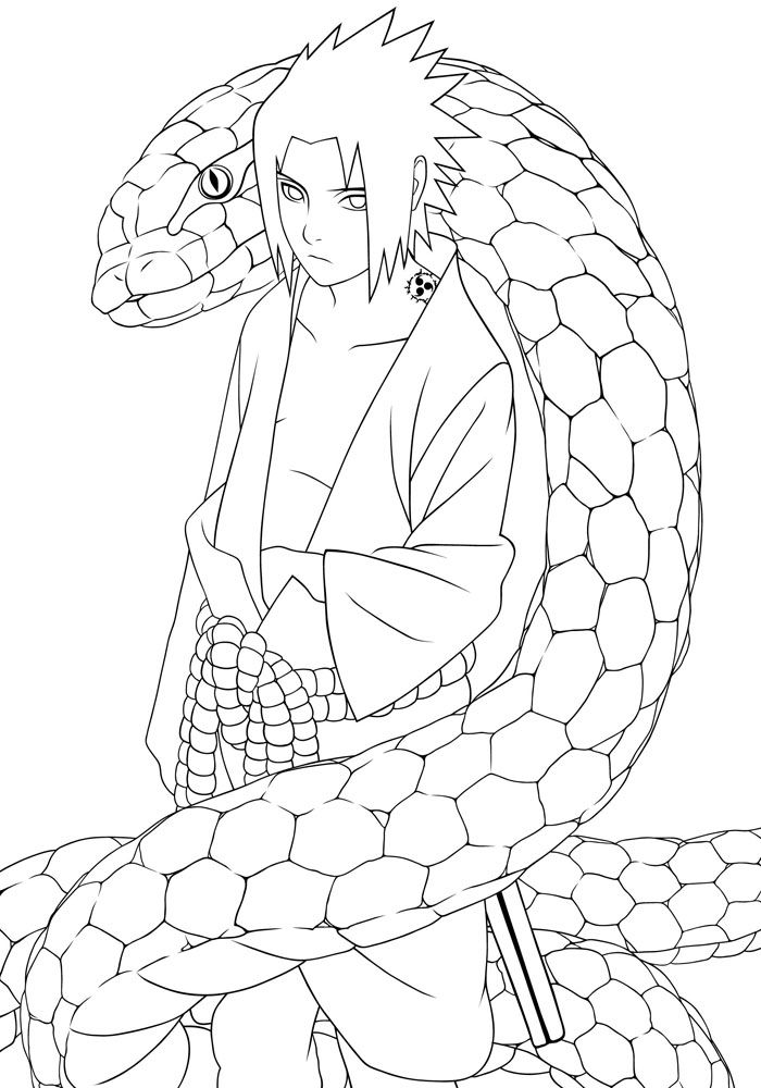 Uchiha Sasuke and Snake Coloring Page Printable | Coloring ...