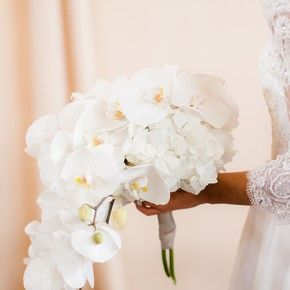 White Hydrangea And Orchid Bouquet Flower Bouquet Wedding