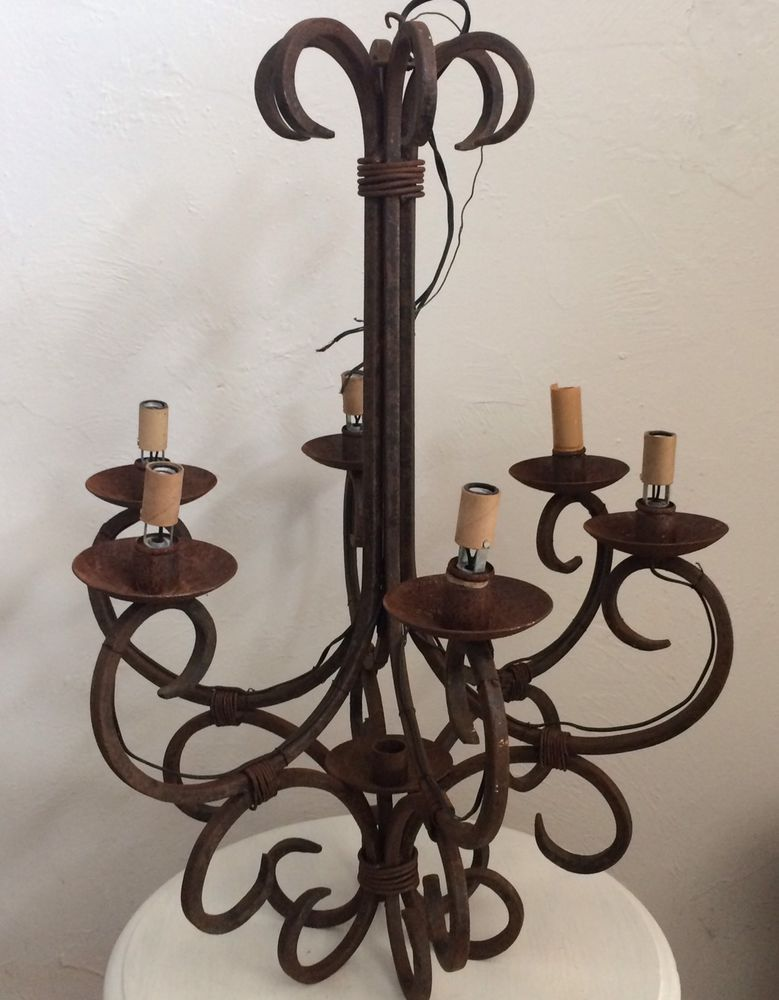 Antique Wrought Iron Chandelier 6 arm French Chandelier Rustic Lighting  Vintage - Antique Wrought Iron Chandelier 6 Arm French Chandelier Rustic
