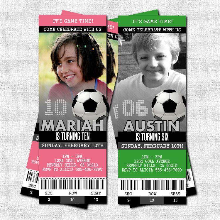 soccer ticket invitations + free thank you card - birthday party, Invitation templates