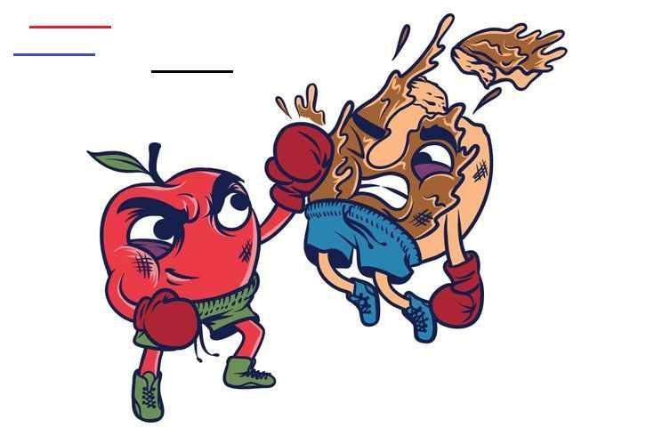 Apple vs Donut  Tshirt Graphic by Suhandi on Envato Elements Apple vs Donut  Tshirt Graphic   #eat, #food, #fruit, #healthy, #unhealthy, #health, #sport, #exercise, #boxing, #donut, #apple, #doughnut, #junkfood<br>