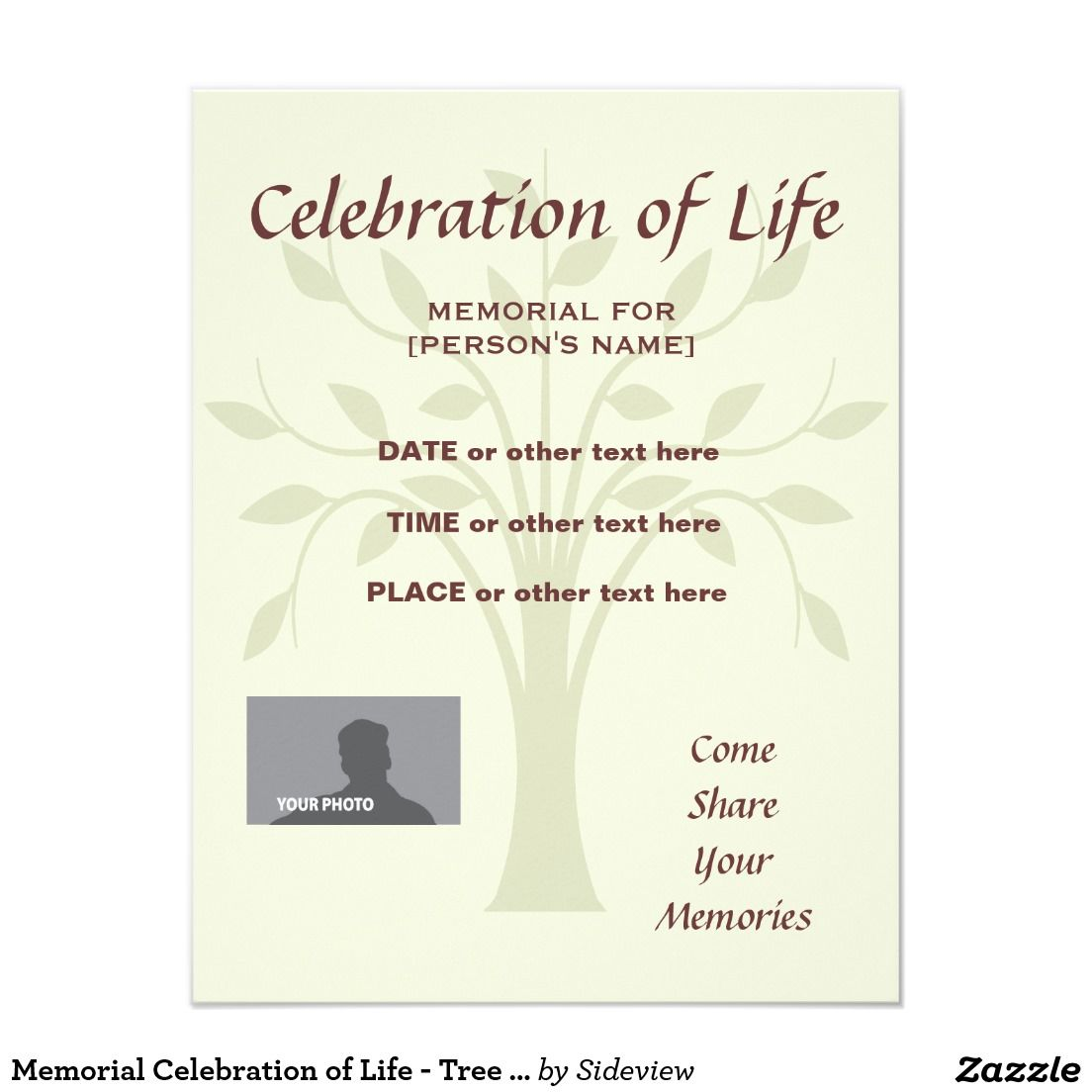 Memorial Celebration Of Life Burgundy Invitatation Card  Celebrations