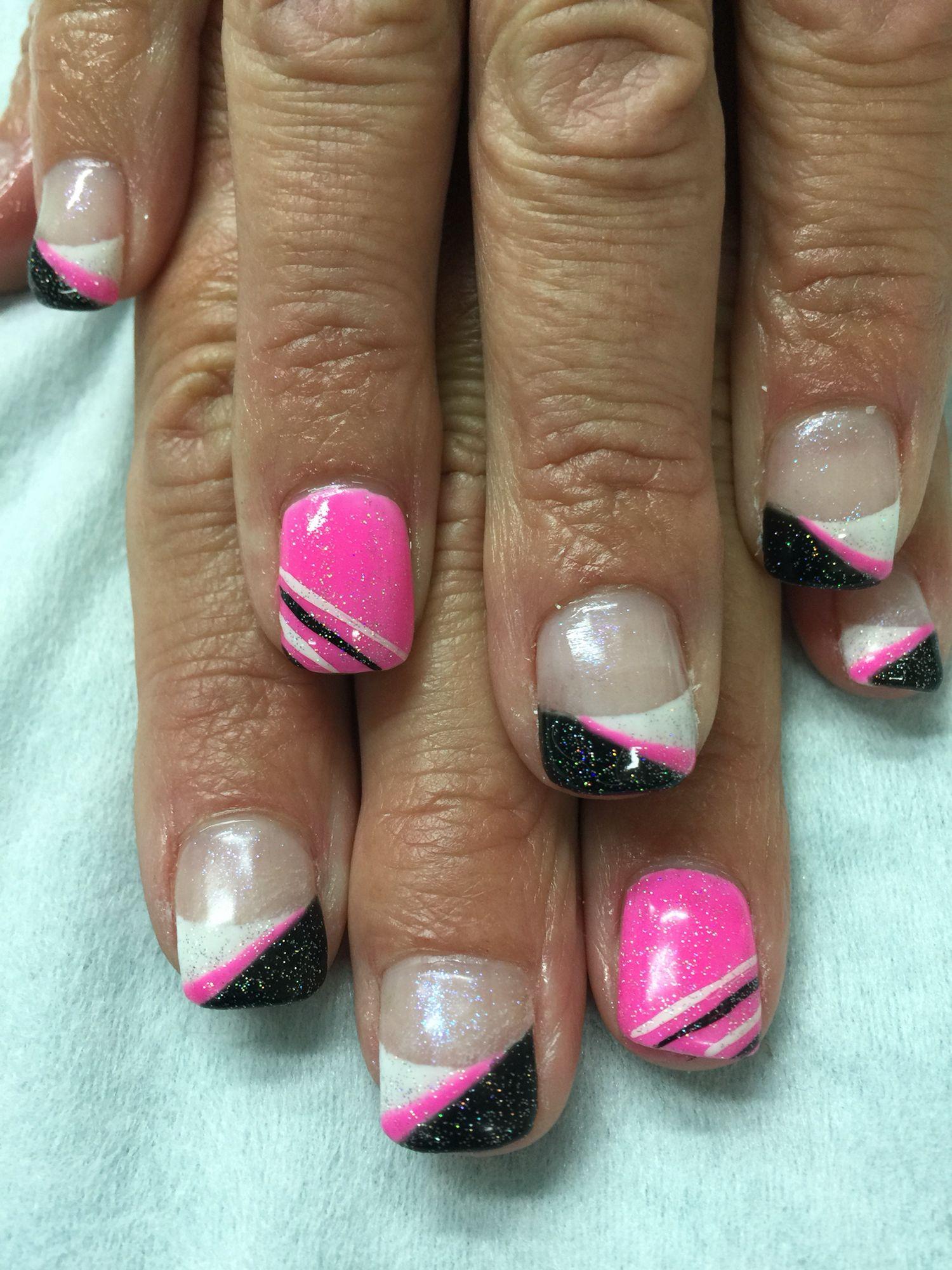 Fun Funky French Gel Polish Nails White Black Bright Pink
